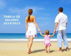 TABELA DE VALORES DE DIÁRIAS – TEMPORADA-2014/2015